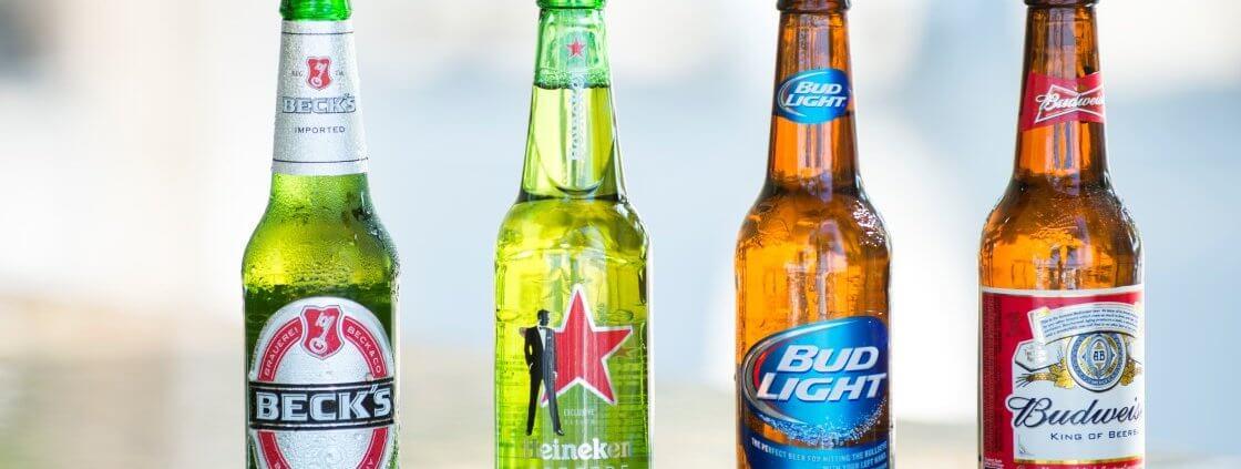 Bottles of popular assorted beers